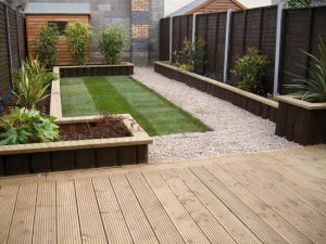 Garden Railway Sleepers and Raised Beds by Landscape Gardeners Solihull